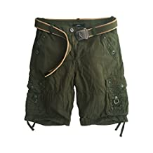 Xudom Womens Cargo Shorts With Belt Cotton Multi-Pockets Casual Pants
