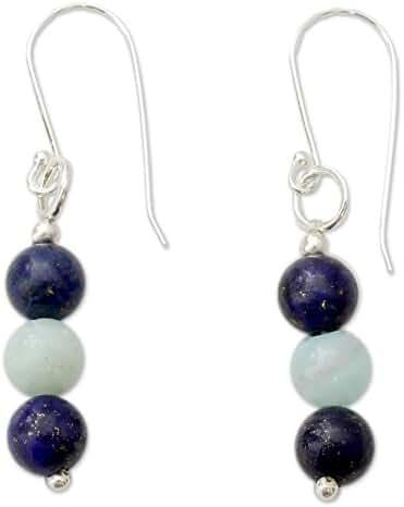 NOVICA Multi-Gem Lapis Lazuli .925 Sterling Silver Dangle Earrings 'Sweet Mysteries'