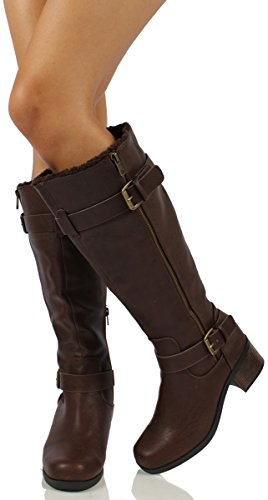 City Classified Womens Hulu Faux Leather Buckle Zipper Knee High Boots Lined with Faux Fur, Brown, 55 M US