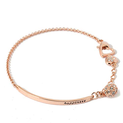 ORANGELOVE 18K Rose Gold Plated White Gold Plated Happiness Adjustable Chain Cubic Zirconia Bracelet for Women,5.9 Adjustable to 7.5