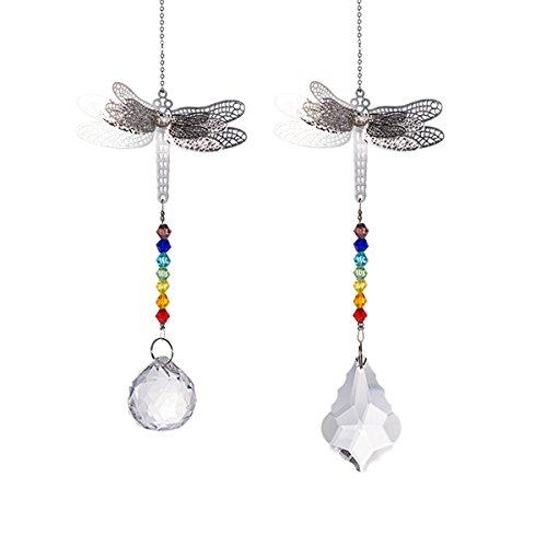 Crystal Suncatcher Chakra Colors Beads Dragonfly Window Hanging Ornament Rainbow Suncatcher,Pack of 2 for Christmas Day,Wedding,Plants,Cars,Window Decor