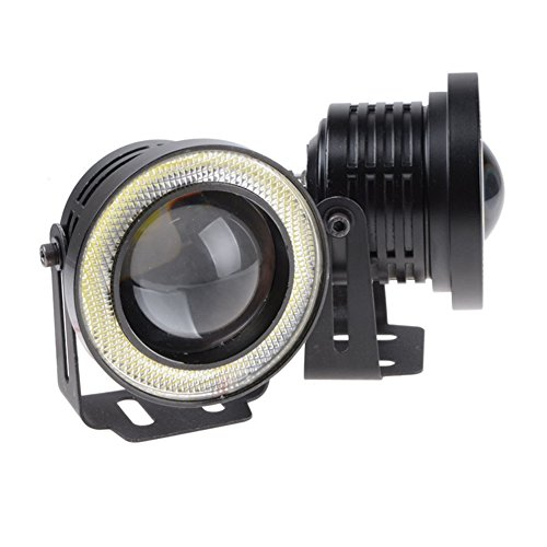 LEDHOLYT 2pcs High Power COB LED Fog Light Projector White Angel Eye Halo Ring DRL Driving Xenon White Lamp (3.5in, (Projector Fog Light Lamp)