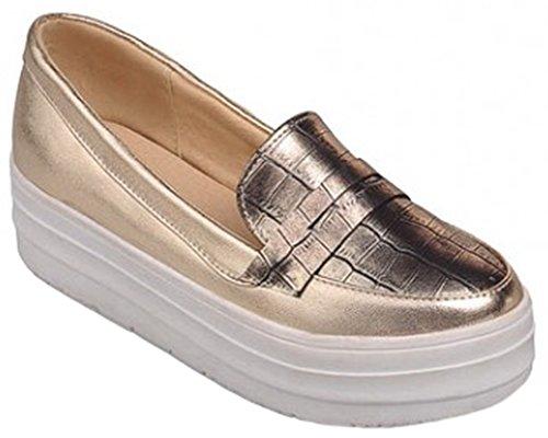 IDIFU Women's Trendy Slip On Low Top Loafers Platform Wedge Sneakers With Heels Gold 6 B(M) US