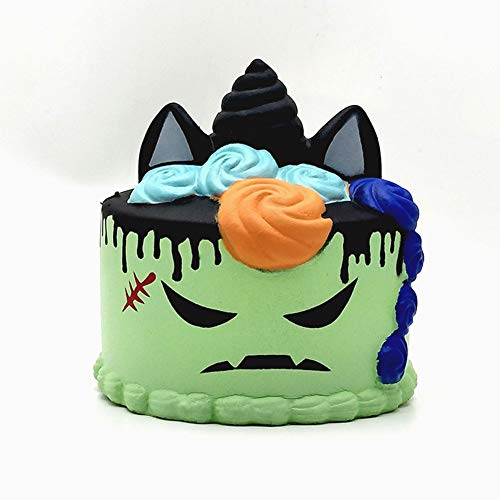 OUYAWEI Halloween Scary Squishy Cake Simulation Squeeze Devil Pattern Slow Rising Cake Stress Relieve Decoration Toy for Kids/Adults(Green) -
