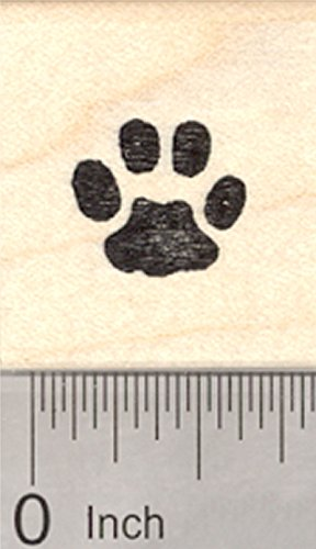 Small Paw Print Rubber Stamp, Cat, Dog, Pet, Half Inch Sized, (Dog Paw Print Stamp)