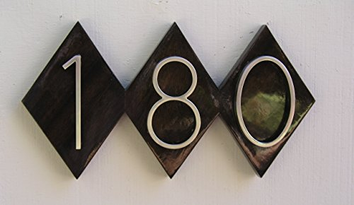 Mid Century Modern Dimond House Numbers,Solid Wood Address Sign. Genuine Mahogany with Yacht Gloss Finish. Modern House - Mahogany Genuine