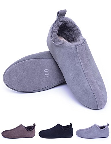 Sheepskin Slippers with Soft Sole,Slip on,Shearling Lined Indoor Slippers for House/Office,Moccasins/Loafers,Grey 10 D(M) US