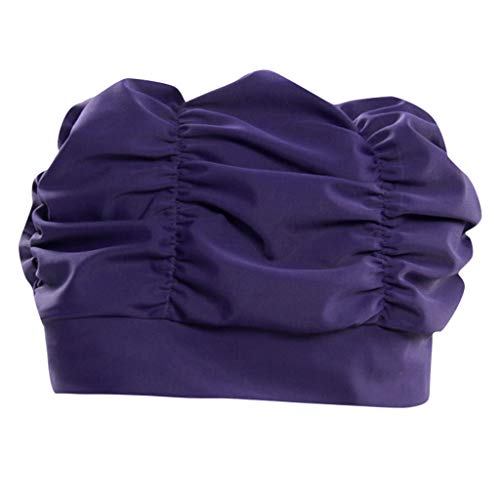 Voberry@ Swim Bathing Caps for Women or Girls Retro Style Latex Bubble Crepe Swimming Hat with Chin Strap for Long or Short Hair (Purple)