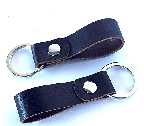 LEATHER KEY RING 2 PACK - MADE IN USA dark brown, full grain oiled latigo leather, valet key, leather key fob, extra key chain, leather keychain, father's day gift, office gift by OVATION HOME