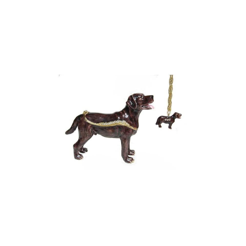 Brown Labrador Retriever Dog Bejeweled Trinket Box