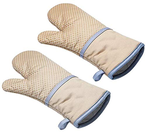 Echeer Cotton Oven Mitts 570 ℉ Heat Resistant of Silicone and Cotton Infull, Non-Slip Kitchen Potholders Gloves, Recycled Cotton Terrycloth Lining 1 Pair