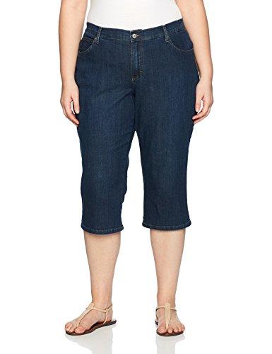 LEE Women's Plus Size Relaxed Fit Denim Capri Pant, Mysterious, 18W Medium ()