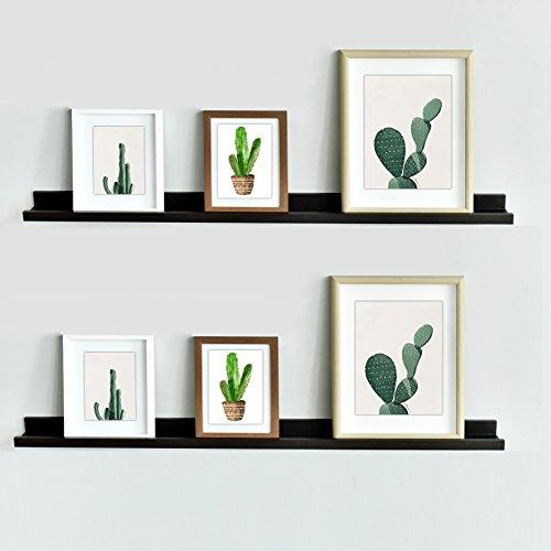WELLAND Vista Floating Picture Ledge Display Wall Shelf, 48-inch, Set of 2, Espresso - 48' Frame Set