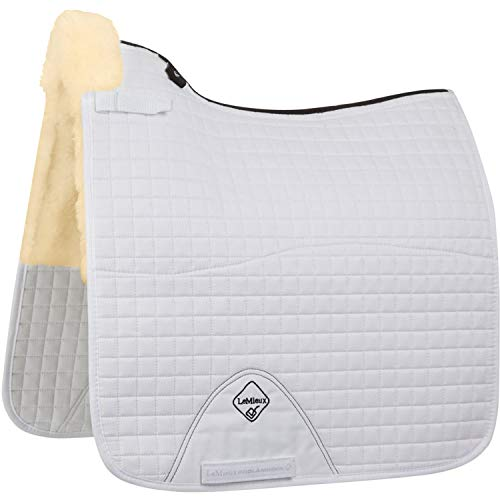 (Le Mieux Lambswool Dressage Square Half Lined Saddle Pad Large White Natural)