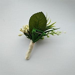6 Pieces/lot Groom Boutonniere Man Buttonholes Wedding Flowers Party Decoration (Ivory) 4