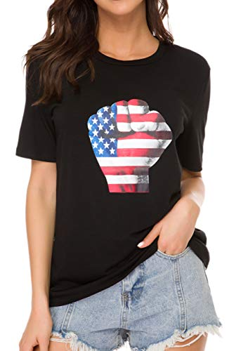 4th Of July Tees - Women's American Flag Tee Shirts Short Sleeve 4th July Patriotic USA Flag T-Shirt Blouse Tops