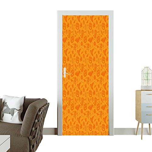(Door Sticker Traditi al Halloween Themed Objects Celebrati Day Orange Removable Door Decal for Home DecorW31 x H79)