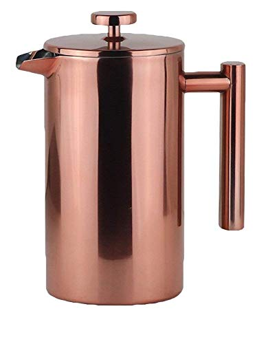 LA JOLIE MUSE French Press Coffee Maker - Double Walled Insulated Stainless Steel Coffee Pot with Copper Finish, 2 Bonus Screen Filters, 34 OZ/8 Cup Cafeteria - Press French Coffee Insulated