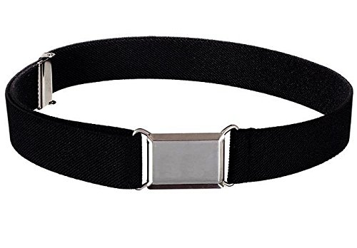 Buyless Fashion Kids And Baby Adjustable And Elastic Dress Stretch Belt With Silver Buckle - Black (Adjustable Elastic Belts)