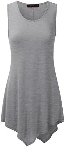 Doublju Womens Sleeveless Round Neck Unbalanced Long Tank Tunic Top