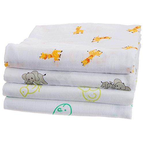UR My Sunshine Muslin Swaddle Blankets, Soft Light Cotton, Boy or Girl 4 Pack, 47 x 47 Inch (Large)