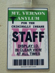 Asylum Halloween Costumes (HALLOWEEN COSTUME MOVIE PROP - ID Security Badges, FBI, MIB, Area 51 and)