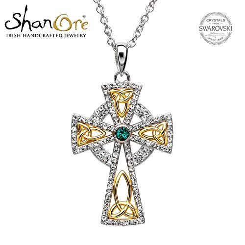 Hallmarked Sterling Silver Trinity Gold Plated Cross With Swarovski Crystals (Plated Cross Celtic Gold)