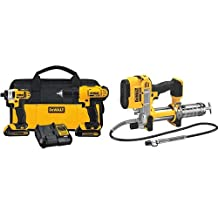 DEWALT DCGG571B 20V MAX Lithium Ion Tool Only Grease Gun & DEWALT 20-Volt Max Compact Lithium-Ion Cordless Combo Drill Kit