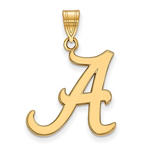 (Jewelry Stores Network University of Alabama Crimson Tide School Letter Logo Pendant Gold Plated Silver L - (19 mm x 19)