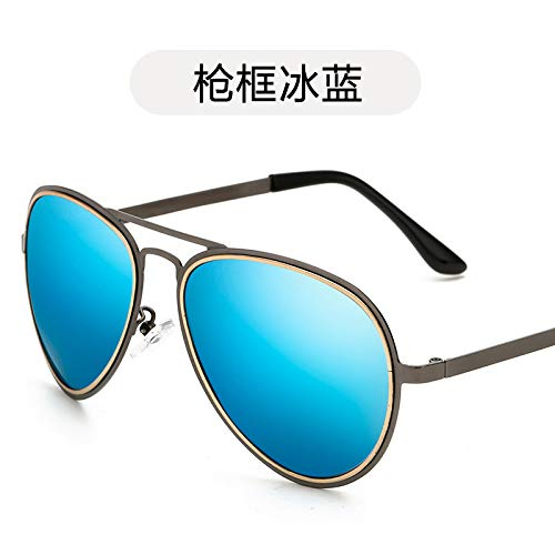 Gafas de frame conducción Hombre Gafas Sol Metalizadas Sol Negras Gun Sol polarizadas de de ice Mujer de Gafas de polarizadas y Gafas Sol Moda Retro de Sol de de Burenqiq blue Gafas xq6vwCZgw