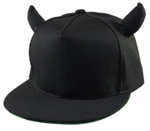 Thenice Women's Devil Ox Horn Hat Baseball Cap (Black)