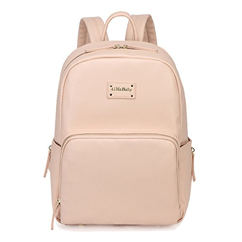 Gizwise Faux Leather Backpack Diaper Bag Toddle Baby Small Organizer Bag for Womens Mens (sand blush color)