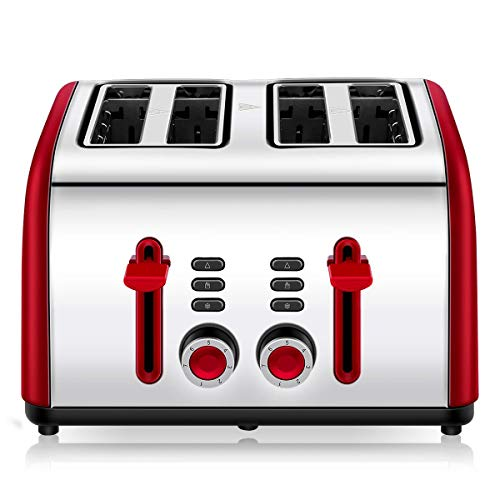 Toaster 4 Slice, CUSINAID 4 Wide Slots Stainless Steel Toasters with Reheat Defrost Cancel Function, 7-Shade Setting, Red (Red Kitchen Aide Toaster)