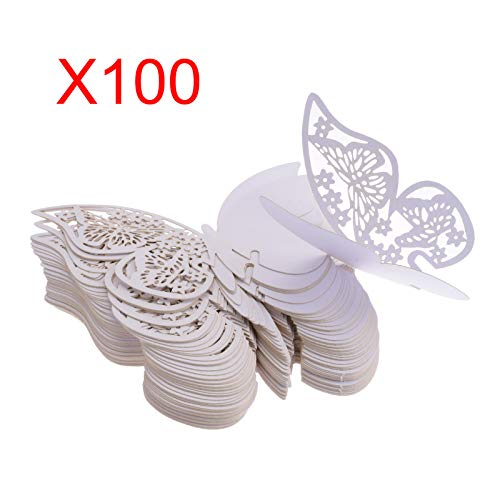 Kmall 100 x Pearly White Butterfly Wedding Party Table Number Name Paper Place Decorations Mark Cards Placeholder Marker Bottle Marker Wine Glass Cup Wall Decals Sticker for Wedding Favor Party Birth