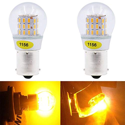 AMAZENAR 2-Pack 1156 BA15S 1141 1003 7506 1073 Extremely Bright Amber/Yellow LED Light 9-30V-DC, AK-3014 39 SMD Replacement Bulbs for Turn Signal Lights Tail Backup Bulbs