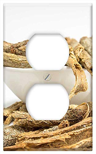 Switch Plate Outlet Cover - Dried Cassia Bark White Table Background Ayurveda 2