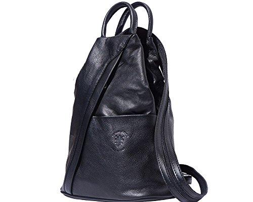 Bolso de cuero suave con cremallera convertible en mochila y bandolera, diseño italiano Multicolor - negro
