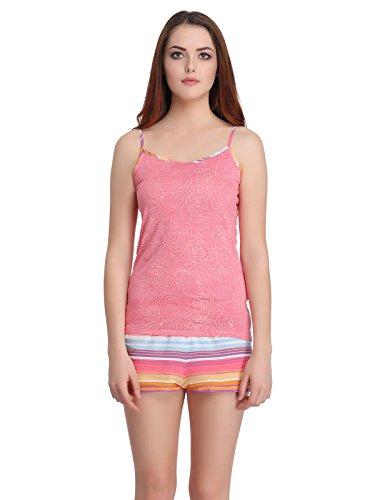 Clovia Women Cotton Printed Spaghetti Top & Striped Shorts