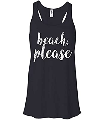 'Beach, Please' Juniors Fitted Funny Summer T-Shirt Tank