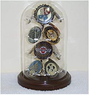 product image for flag connections Military Glass Dome Display, 12 Coins Display Glass Dome.