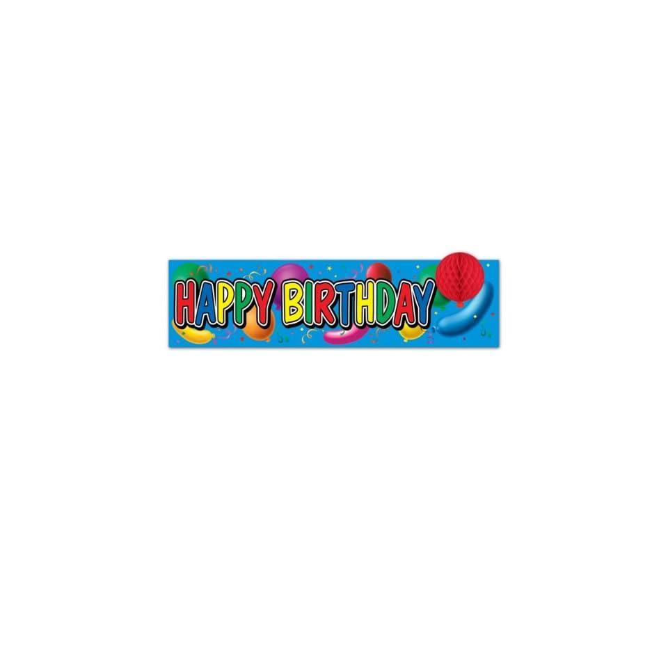 Happy Birthday Sign W/Tissue Balloon (108 Pack)
