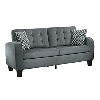 Homelegance Sinclair Tufted Accent Sofa with Two Geometric Pattern Toss Pillows, Grey