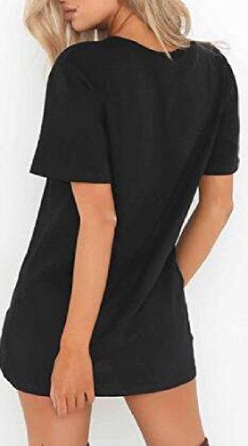Dress Jaycargogo Solid Mini Sleeve Short V T Top Sexy Black Neck Shirt Choker Women Slim qqTOwS4