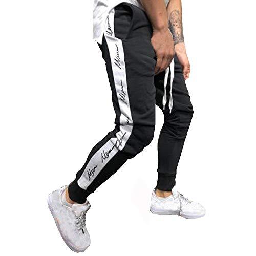 COPPEN Mens Joggers Patchwork Drawstring Sweatpants Trouser Pants