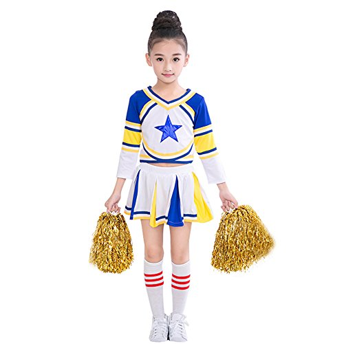 Girls Cheerleader Costume Uniform Blue Star Cheerleading Outfit Match Pom Poms