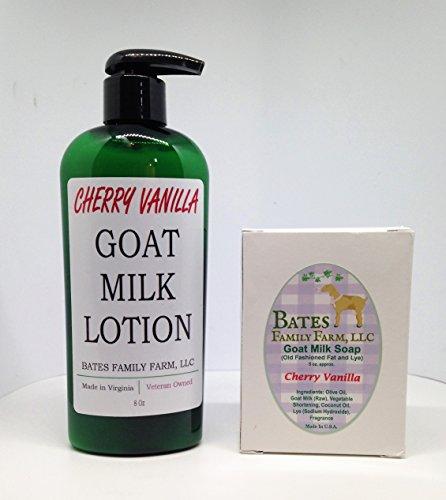 Bates Family Farm Goat Milk Lotion and Goat Milk Soap Combo Pack (Cherry Vanilla)