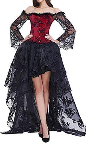 YINGKE Mujeres Deshuesado Cors/é G/ótico Halloween Vestido Clubwear Fiesta Traje XL, Negro Rojo