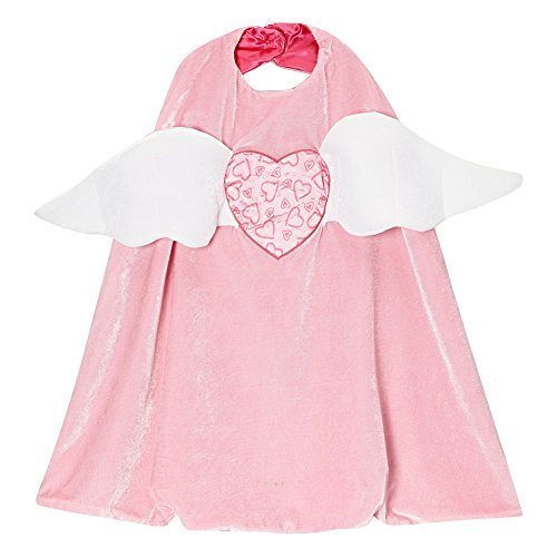 Cupid Wings Costume (Girls Pink Cupid Angel Valentine Heart Reversible Cape)