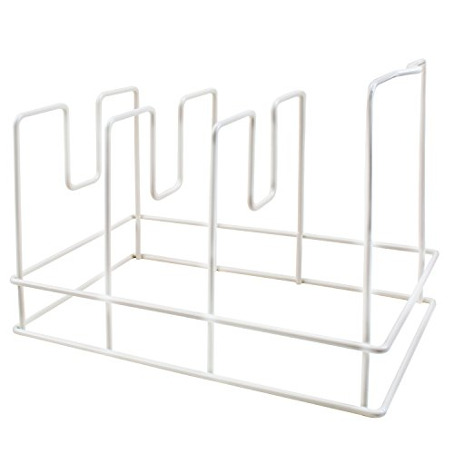 Bakeware Organizer Pans and Lids Storage Rack Holder for Kitchen Counter, Cabinet and Pantry, 3 Compartments, White