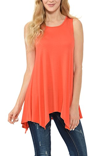 Shamaim Womens Sleeveless Flattering Comfy Tunic Loose Fit Flowy Top Coral X-Large - Turquoise Sleeveless Top